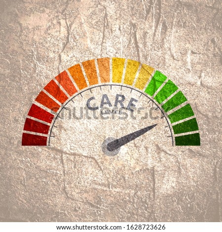 Color scale with arrow from red to green. The care level measuring device icon. Sign tachometer, speedometer, indicators. Colorful infographic gauge element.