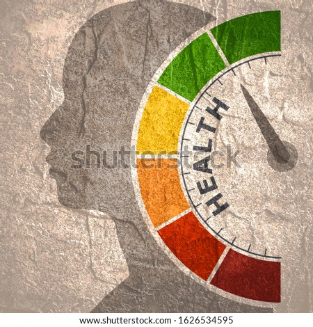 Color scale with arrow from red to green. The health level measuring device icon. Sign tachometer, speedometer, indicators. Colorful infographic gauge element. Head of man silhouette.