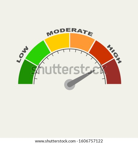 Color scale with arrow from red to green. The measuring device icon. Sign tachometer, speedometer, indicators. illustration in flat style. Colorful infographic gauge element