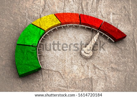Color scale with arrow from red to green. The measuring device icon. Sign tachometer, speedometer, indicators. Colorful infographic gauge element. Stone surface texture