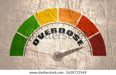 Color scale with arrow from red to green. The measuring device icon. Sign tachometer, speedometer, indicators. Illustration in flat style. Colorful infographic gauge element. Overdose text