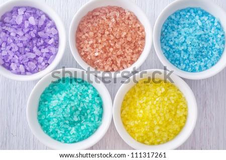 color sea salt - stock photo