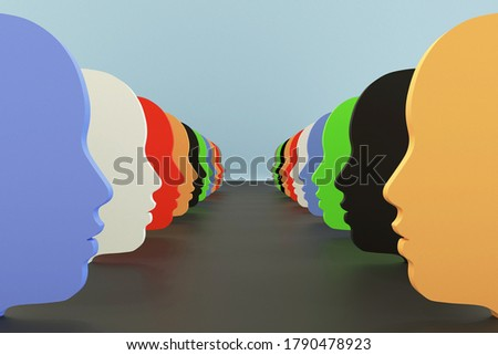 Color shapes of faces, 3d illustration of diversity, racial tension, tolerance and inclusive. Foto d'archivio ©