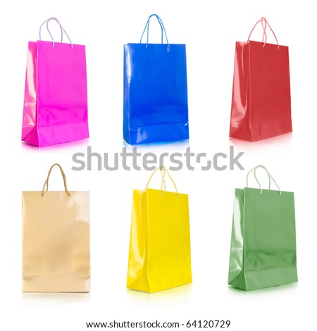 color shopping bags collection isolated on white - stock photo