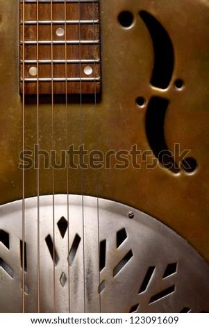 Color shot of a vintage dobro guitar