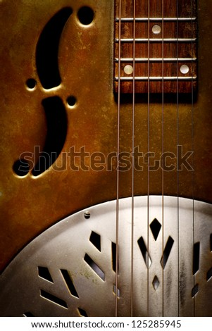 Color shot of a vintage dobro guitar