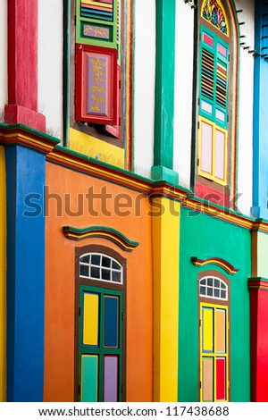 Color shutters and color facade of building in Little India, Singapore