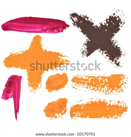 Color signs isolated over the white background