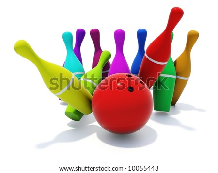 color skittles with ball isolated on white
