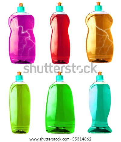color soap bottle isolated over white background