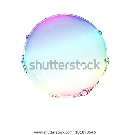 Color soap bubbles isolated on white