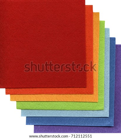 color spectrum of multicolored textile squares stacked together #712112551