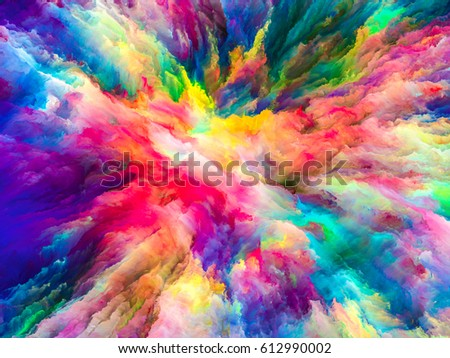Color Splash series. Graphic composition of fractal paint and rich texture  for subject of imagination, creativity and art