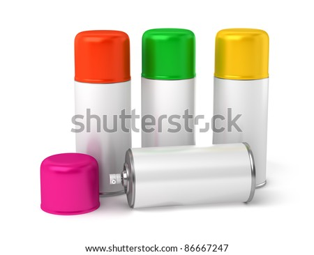color spray cans isolated on white background
