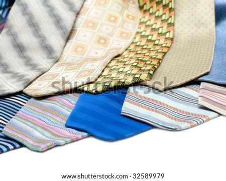 Color, striped male ties insulated over white background