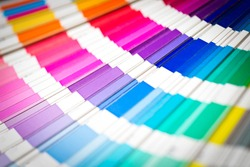Color swatches book. Rainbow sample colors catalog.