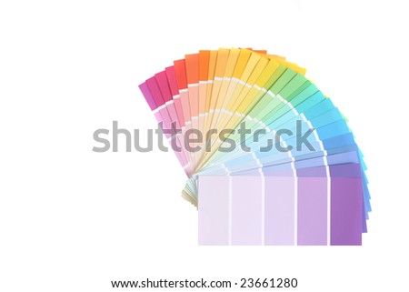 Color Swatches of Paint Samples Isolated on White Background With Copy Space