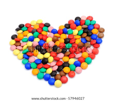 Color sweets shaped as a heart