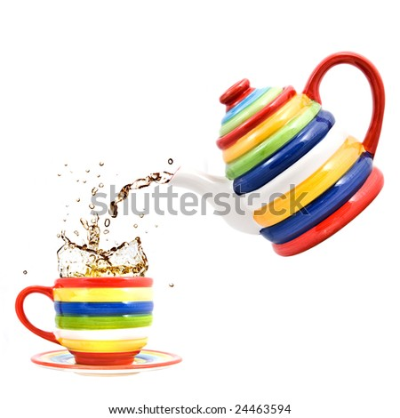 color teapot with cup and splash of tea isolated on white