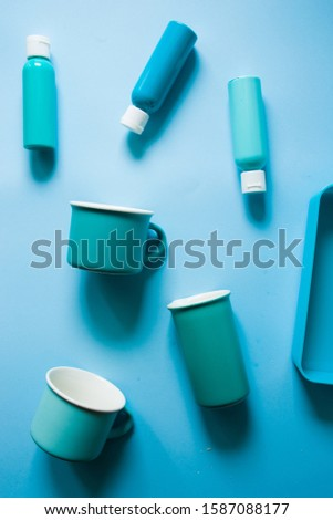 Color textured background made with different  object with aqua marina tonality disposed in diagonal path, group of objects aligned