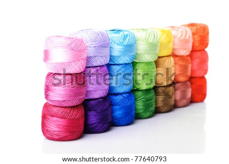 color thread heap isolated on white