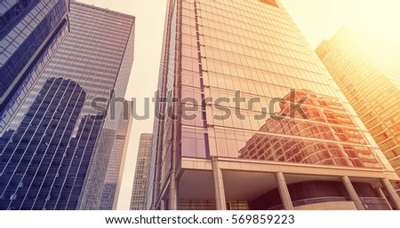 Color toned modern buildings in Chicago financial district, business concept background. #569859223