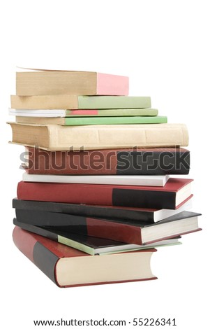 color tower books on white background arranged in stack