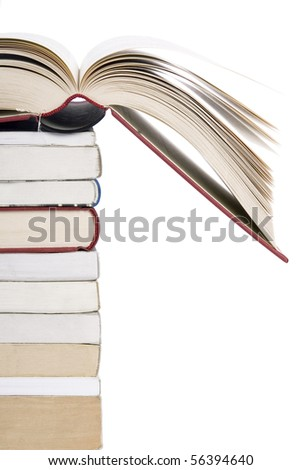 color tower books with open one arranged in stack