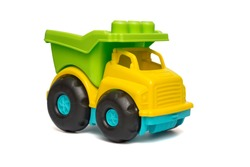 Color toy car. Colorful toy truck isolated on white background. Plastic car.