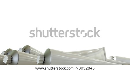 color tubes isolated on white background