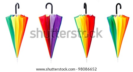 Color umbrellas isolated on white