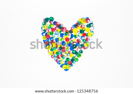 Color Water color heart on a white background.