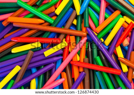 Color Wax Crayons in a Pile.
