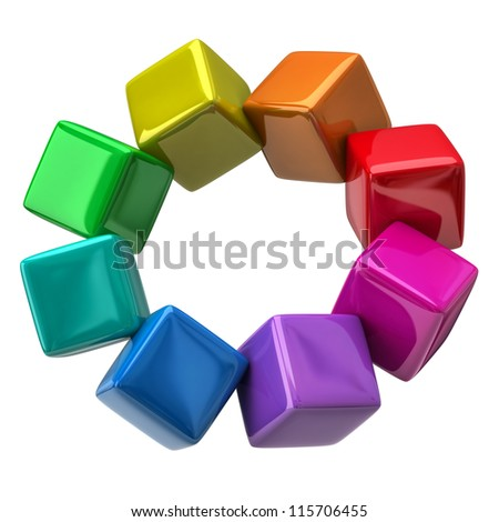 Color wheel of colorful cubes