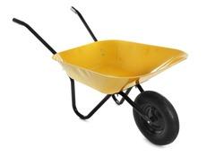 Color wheelbarrow isolated on white. Gardening tool