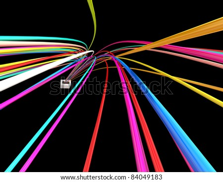 color wires isolated on black