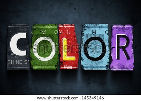 color word on vintage broken...