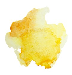 Color, yellow splash watercolor hand painted isolated on white background, artistic decoration or background