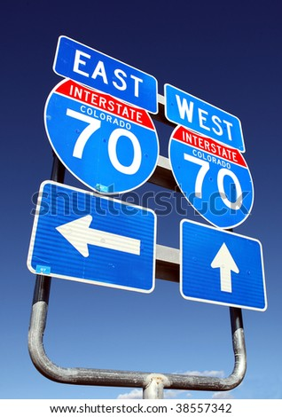 Colorado interstate 70 highway signs, east and west - stock photo