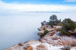 Colorado National Monument. Plateau in the snow, canyon in fog