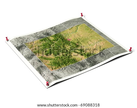 Colorado on unfolded map sheet with thumbtacks. Map colored according to vegetation, with borders and major urban areas. Includes clip path for the background.