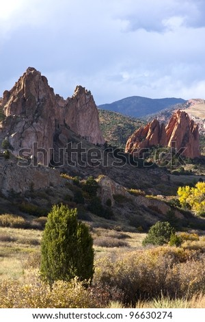 Colorado Rocks Formation - Colorado Springs Garden of the Gods in Fall. Vertical Photography. Colorado Photo Collection