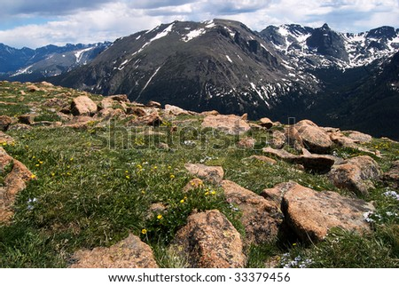 Colorado Rocky Mountain National Park.  Snow-capped peaks and dynamic cloudy sky in background, boulders and alpine wildflowers in foreground.  Good for nature or travel design uses.