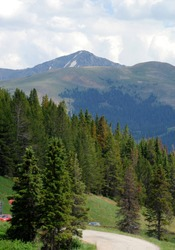 Colorado Rocky Mountains at the Vail Pass summit, turnoff from Interstate 70. Scenic mountain landscape photography.