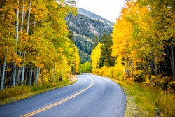 Colorado rocky mountains paved road trip with foliage in autumn fall on trees on Castle Creek scenic road with colorful yellow orange leaves
