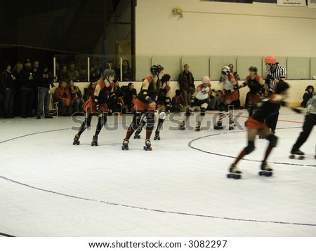 Colorado Roller Derby team, The Rocky Mountain Roller Girls, April 2007 bout.  Red Ridding Hoods vs. Candy Snipers.