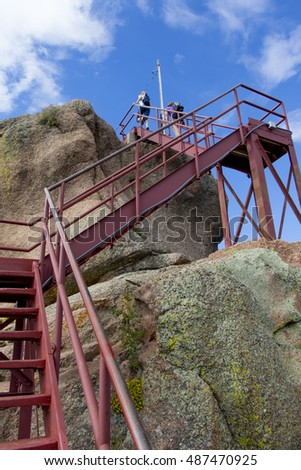 Colorado's Pike National Forest at Devil's Head Lookout - stairs leading to lookout structure.