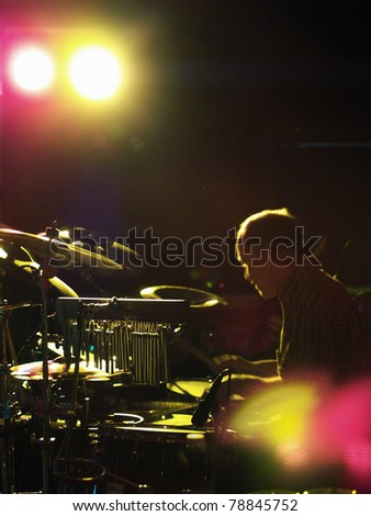 COLORADO SPRINGS, CO. USA – APRIL 8:	Percussionist Teddy Nazario of the Acoustic Rock band Andy Clifton & Co. performs in concert April 8, 2006 at the Antlers Ballroom in Colorado Springs, CO. USA