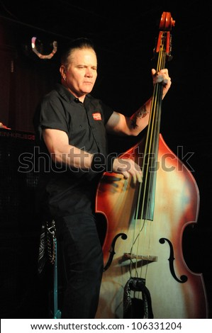 COLORADO SPRINGS, CO. USA	JANUARY 27:		Bassist/Vocalist Jimbo Wallace of the Rockabilly band Reverend Horton Heat performs in concert January 27, 2012 at the Black Sheep in Colorado Springs, CO. USA