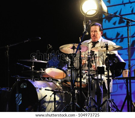 COLORADO SPRINGS, CO. USA	MARCH 12:		Drummer Kenny Dale Johnson of the Blues Rock band Chris Isaak performs in concert March 12, 2012 at the Pikes Peak Center in Colorado Springs, CO. USA